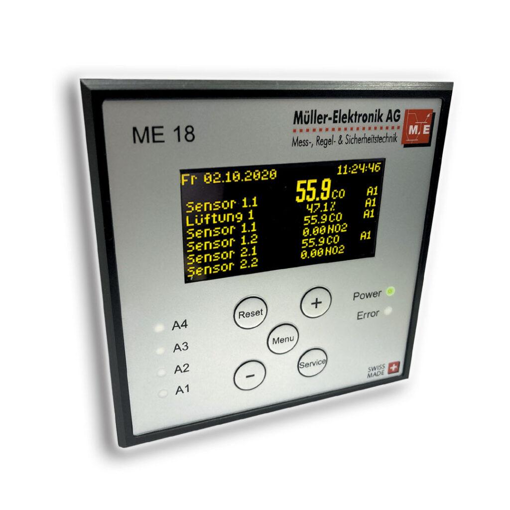 Gaswarnzentrale ME 18 mit Einbaunorm 96 x 96 mm für Rack Einbau. Gasmesscomputer und Auswerteinheit zur Gasmessung verschiedener Gasverbindungen.