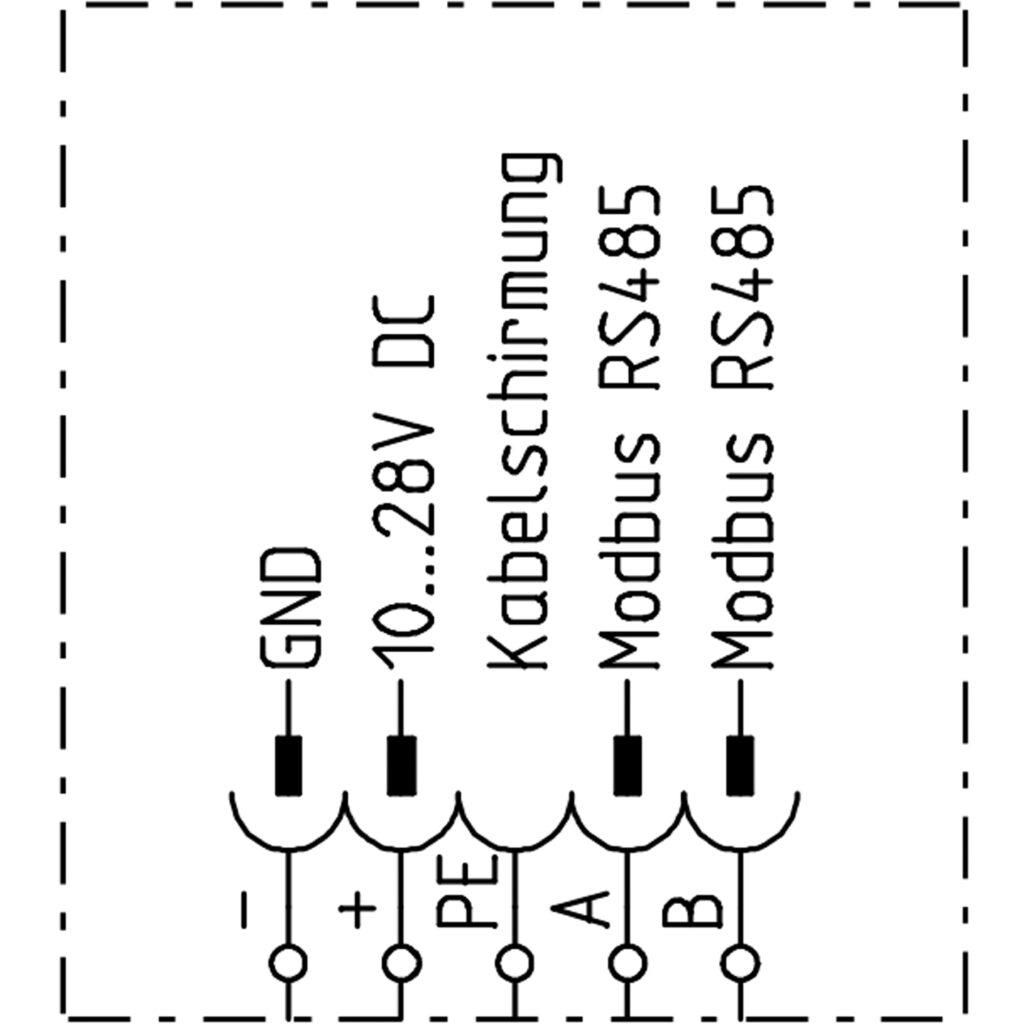 Anschlussschema für den Gassensor ME 1250 mit Bus-Kommunikation
