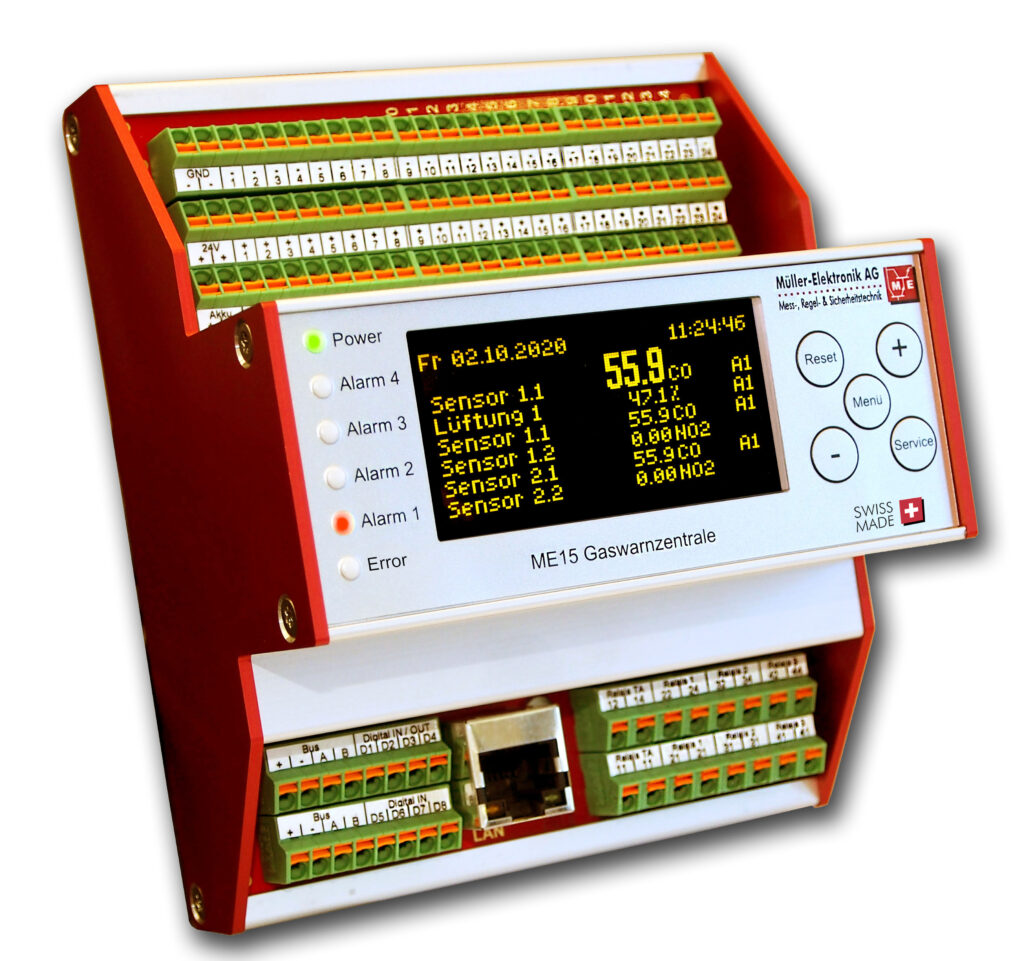 Die Gaswarnzentrale ME 15 ist eine Gasmess-Auswerteinheit für DIN Hutschienenmontage, und verwaltet bis 200 Gassensoren, für die Gasmessung von verschiedensten Gasverbindungen.