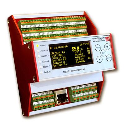 Gaswarnzentrale zur zentralen Signalverarbeitung der Gasmesswerte