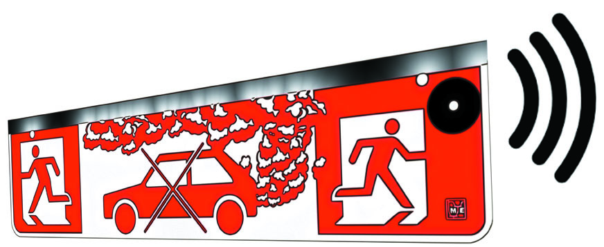 Warnleuchte für Tiefgaragen und Parkhäuser, zur Alarmierung bei Abgasen, gemäss SWKI Richtlinie